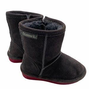 Bear Paw Side Zipper Gray Winter Boot